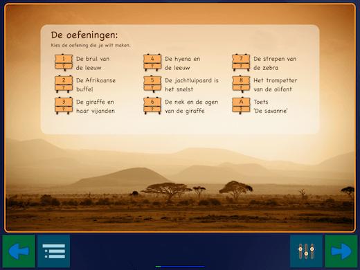 Overzicht van oefeningen in deze begrijpend lezen app.