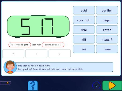 Oefeningen met de cijfers op de digitale cijferklok.