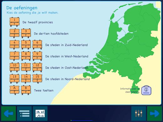 Leer eerst de namen van de provincies en de hoofdsteden, daarna de plaatsen in elke Nederlandse provincie.