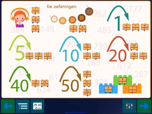 De app heeft 22 oefeningen om stapsgewijs te leren tellen tot 1000.