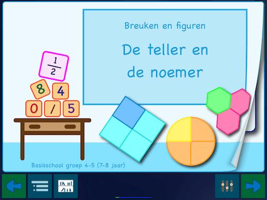 """Deze app heeft drie boekjes. Het eerste boekje heet """"De teller en de noemer""""."""